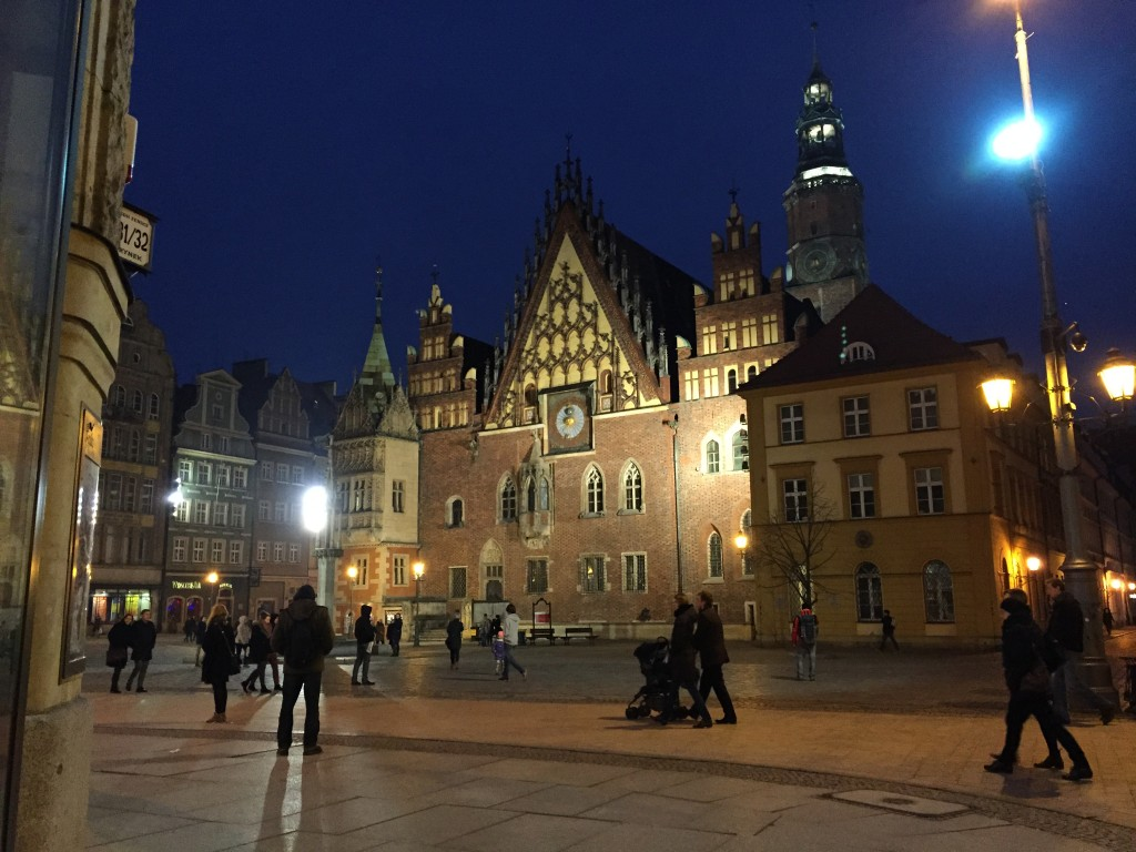 Beautiful renovated city center of Wrocław.